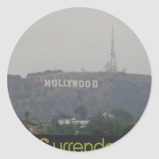 Hollywood Sign on the Hills Classic Round Sticker
