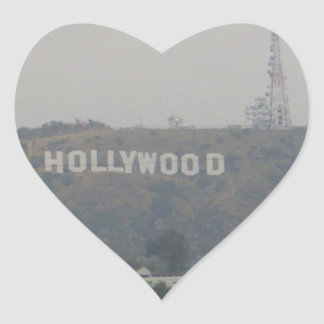 Hollywood Sign on the Hills Heart Sticker