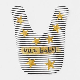 Hollywood Star Black White Stripes Shiny Gold Baby Bib