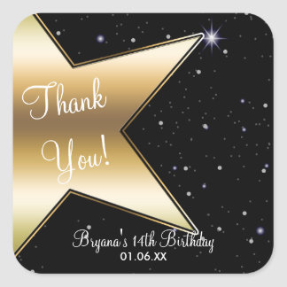 Hollywood Star Gold Black Birthday Party Stickers