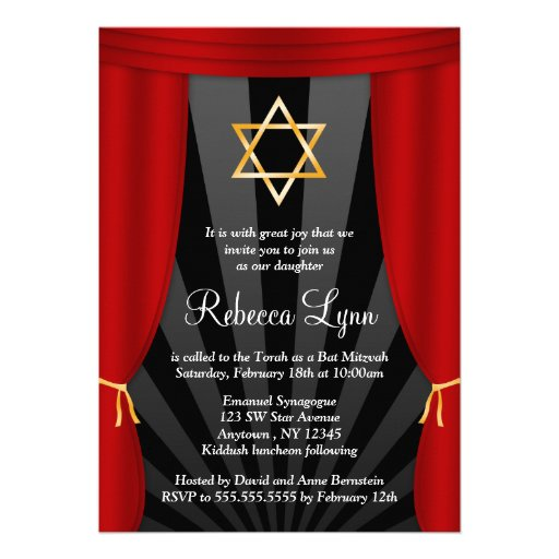 Hollywood Star of David Bat Mitzvah Invitations Personalized Invite