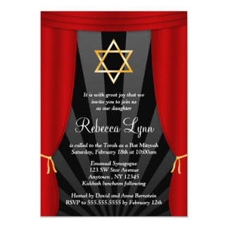"Hollywood Star of David Bat Mitzvah Invitations 5"" X 7"" Invitation Card"
