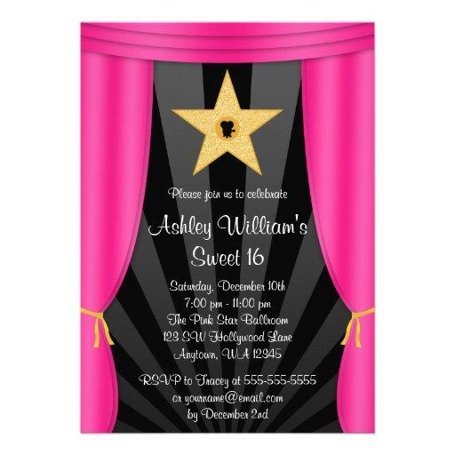 Hollywood Star Pink Curtains Sweet 16 Birthday Card
