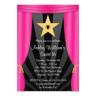 Hollywood Star Pink Curtains Sweet 16 Birthday 5x7 Paper Invitation Card