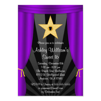 Hollywood Star Purple Curtains Sweet 16 Birthday Card