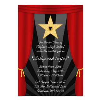 Hollywood Star Red Curtain Prom Formal Invitation