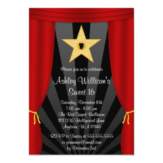 "Hollywood Star Red Curtains Sweet 16 Birthday 5"" X 7"" Invitation Card"