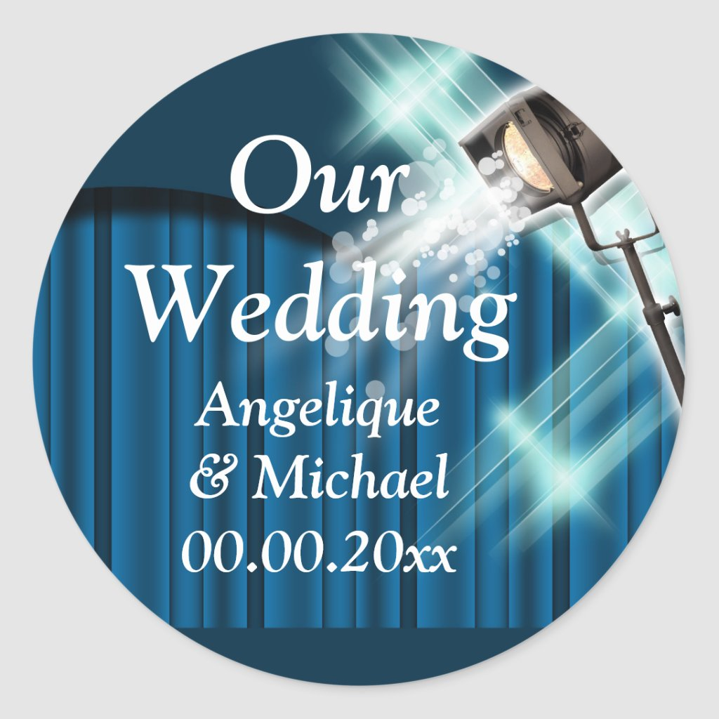 Hollywood wedding announcement couple blue Round Sticker