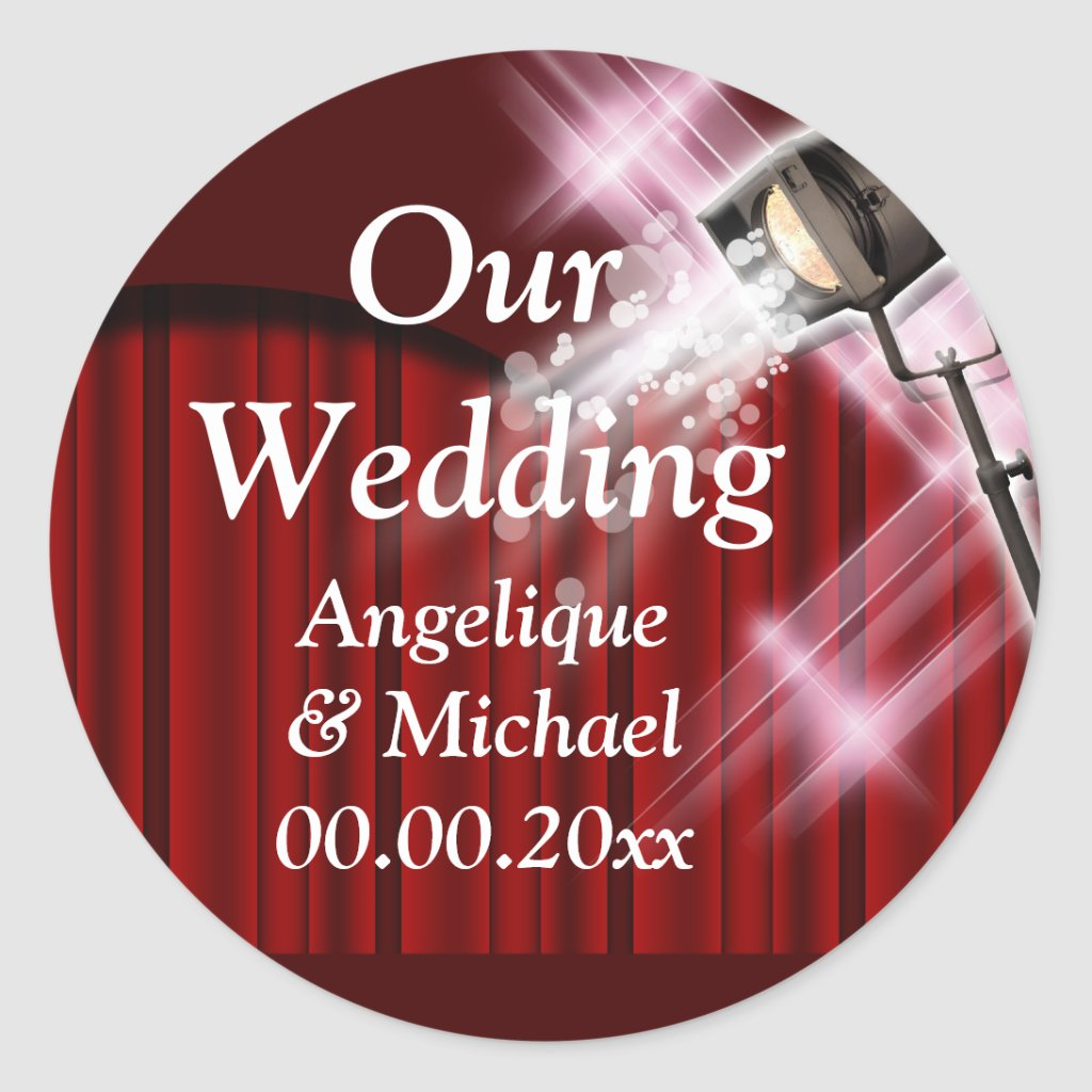 Hollywood wedding announcement couple red Sticker