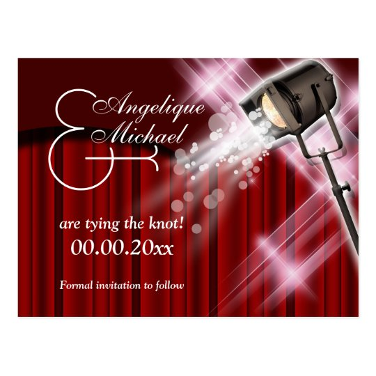 """Hollywood wedding """"save the date"""" red black white postcard"""