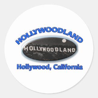 Hollywoodland Sign Classic Round Sticker