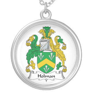 Holman Family Crest Silver Plated Necklace