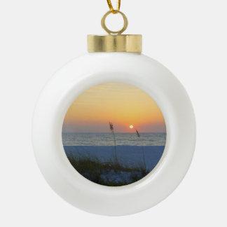 Holmes Beach Sunset Ceramic Ball Christmas Ornament
