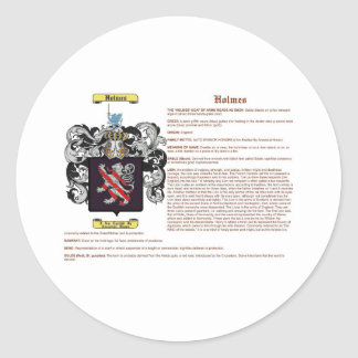 Holmes (english(meaning)) classic round sticker