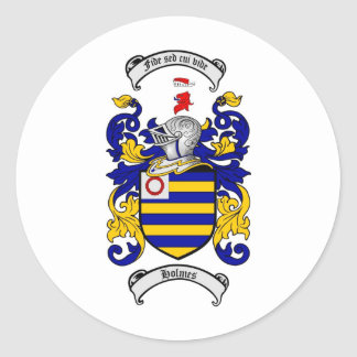 HOLMES FAMILY CREST -  HOLMES COAT OF ARMS CLASSIC ROUND STICKER