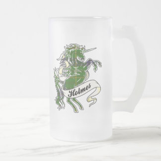 Holmes Tartan Unicorn Frosted Glass Beer Mug