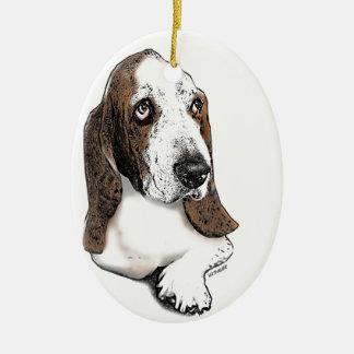 Holmes the Beautiful Basset Hound Ceramic Ornament