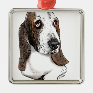 Holmes the Beautiful Basset Hound Metal Ornament