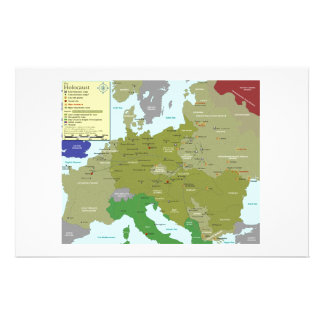 Holocaust Death Camps of World War II Europe Map Stationery
