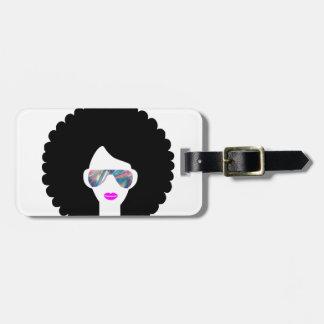 hologram afro girl bag tag