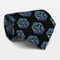 Hologram D20 Pattern | PnP Tabletop Gamer Dice Neck Tie