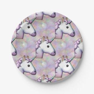 hologram unicorn emoji paper plates