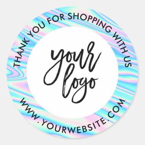 Holograph rainbow custom logo name white thank you classic round sticker