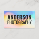 Holographic colorful rainbow pattern bold font business card