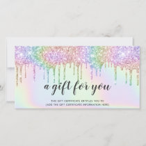 Holographic gift card unicorn glitter drips glam