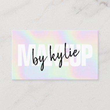 Holographic makeup artist bold signature script business card