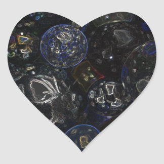 Holographic Marbles Heart Sticker