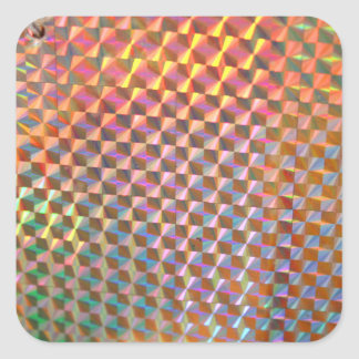 holographic metal photograph colorful design square sticker