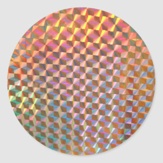 holographic metal photograph colorful design classic round sticker