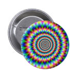 Holographic Optical Illusion Spiral Disco Rainbow 2 Inch Round Button