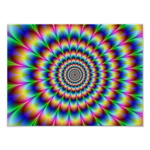 Holographic Optical Illusion Spiral Rainbow Print