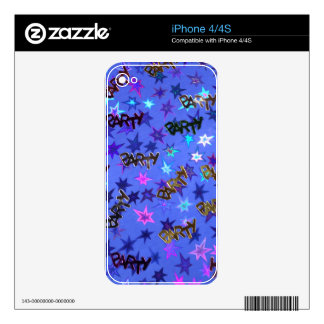Holographic Party confetti and blue stars iPhone 4S Skin