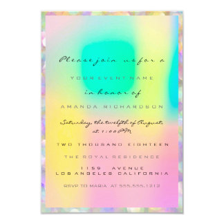 Holographic Pink Bridal Shower Sweet 16th inique Invitation