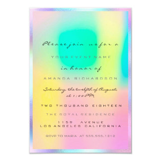 Holographic Pink Bridal Shower Sweet 16th Invitation