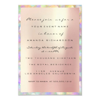 Holographic Pink Bridal Shower Sweet 16th PEARLY Invitation