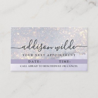 Holographic Purple Glitter Luxury Glam Iridescent  Appointment Card