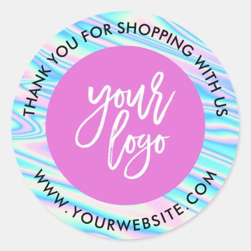 Holographic rainbow custom logo pink thank you classic round sticker