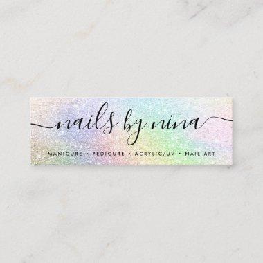 Holographic rainbow glitter chic script signature mini business card
