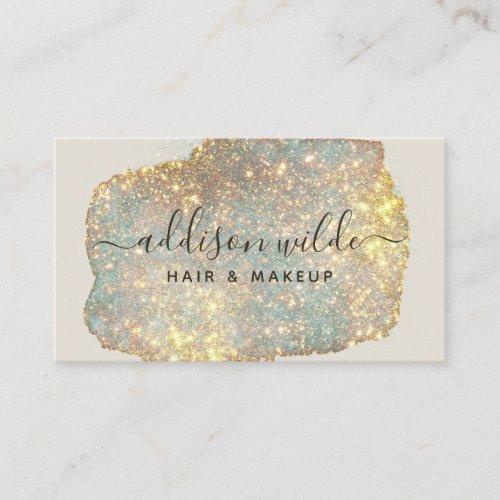 Holographic Signature Script Modern Glam Glitter Business Card