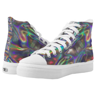 holographic silver sneakers shoes