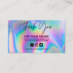 """Holographic Thank You Trendy Salon Business Card<br><div class=""""desc"""">Custom Templates from City Unlikely are guaranteed to create the perfect image and brand design for your company, family, or just fun event! Branding and marketing or party festivities these creative, authentic, and unique designs were designed with you in mind. Geometric designs make a business card and professional patterns make...</div>"""