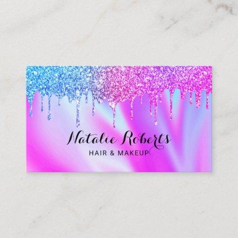Holographic Unicorn Drips Beauty Salon Pink Blue Business Card