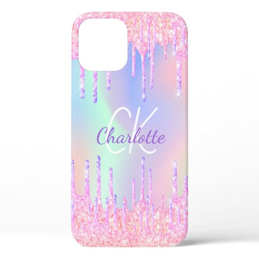 Holographic unicorn rainbow glitter drips name iPhone 12 case