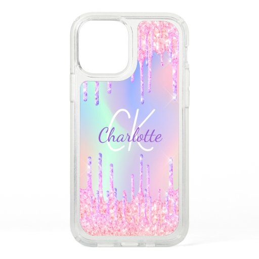Holographic unicorn rainbow glitter drips name speck iPhone 12 case