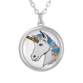 holographic unicorn silver plated necklace