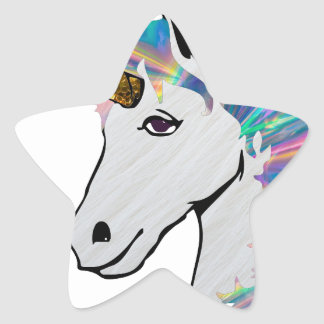holographic unicorn star sticker